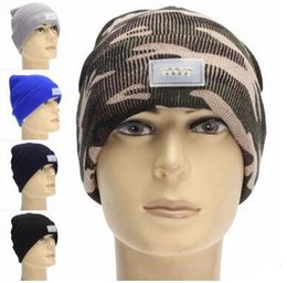 Wholesale Dome Camping - 21 Colors Winter Warm Beanies Hat LED Light Sports Beanie Cap Angling Hunting Camping Running Hats Unisex Beanies Cap Free Shipping