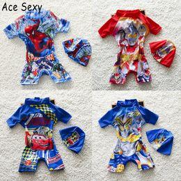 Wholesale Spiderman Swimsuits - 2017 Summer Superman Spiderman Printing Kids Swimming Suits Children One Piece Swimwear Boys Bathing Beach Swimsuits