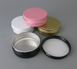 Wholesale black glass cosmetic jars - Lot of 30 pcs Aluminum Jars 60ml Black Gold White Pink Metal Tin 2oz Cosmetic Containers Crafts