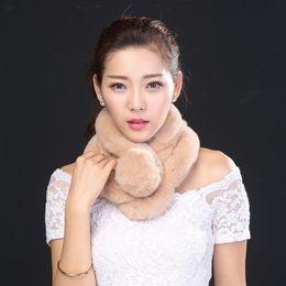 Wholesale Genuine Fur Shawls - Wholesale-New 2016 Genuine 100% Real Rex Rabbit Fur Scarf Women Fluffy Winter Fur Shawl Hijab Bandana Pom Pom Fur Scarves Free Shipping