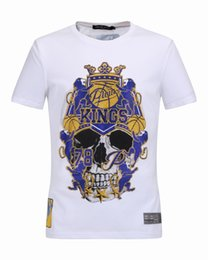 Wholesale Drill Shirts - 2017 spring summer new men's T-shirt short sleeve and Metrosexual fashion skull drilling stamp cotton T-shirt