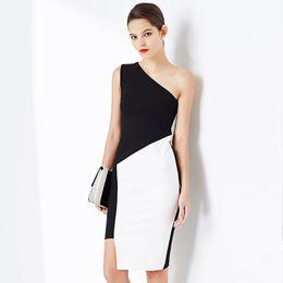 Wholesale Casual Off One Shoulder Dresses - Summer Black White Patchwork Slim Bodycon Women Dresses One Shoulder Elegant Off Shoulder Evening Party Dresses Women DK1713LY