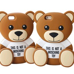 Wholesale 3d Teddy - Teddy Bear Cartoon 3D Cover For Iphone 7 6 6s Plus Samsung Galaxy S7 S6 Edge ZTE Soft Silicone Case With OPPBAG