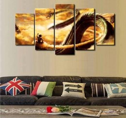 Wholesale Dragon Sheets - 2017 5 Piece Modular Home Decor Wall Art Dragon Ball Landscape Canvas Wall Art Home Decor For Living Room