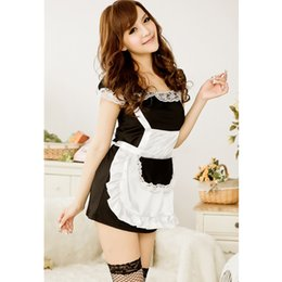 Wholesale Sexy Lingerie Apron Babydoll - Women Sexy Erotic Lingerie Temptation Lace French Apron Cosplay Maid Servant Sexy Costumes Babydoll Dress Sex Product 7080
