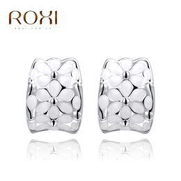 Wholesale Rose Gold Earrings Hoops - ROXI Brand Earrings For Women Stud Earrings Flower Rose Gold Color Women Stud Earrings Wedding Engagement Gift