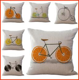 Capas de laranja on-line-Verão Laranja Bicicleta Fronha Capa de Almofada de Linho De Algodão Lance Fronha sofá Cama Carro Decorativo Travesseiros cobre transporte da gota PW451