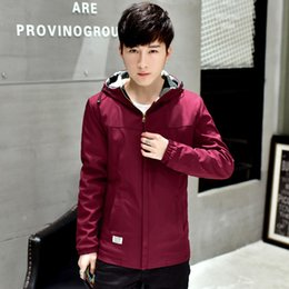 Wholesale Black Jacket Red Zip Mens - Men Jacket Zip Long Sleeve Trend Casual Windproof Mens Jackets And Coats M-2XL Solid Outerwear Clothes