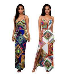 Wholesale Tight Fitted Pencil Dress - 2017 Summer New European-style Geometric Prints Fashion Sexy Tight-fitting Back Under The Forked Sling Polyester Straight Dress