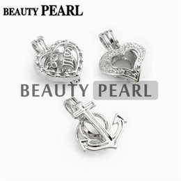 Wholesale Anchor Jewellery - 10 Pieces Wholesale Jewellery Mix Lots Love Pearl Cages Locket Pendant Mountings Heart and Anchor Charm