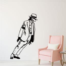 Wholesale Sticker Michael Jackson - DIY Graphic vinyl wall sticker of Michael Jackson Portrait for bedroom decorative wall decal mural vinilos pegatinas de pared 4146