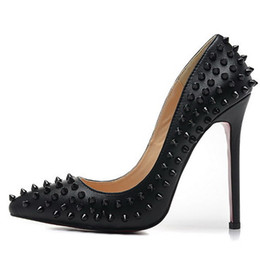 Wholesale Lady Shoes Spikes - New 2017 Women Pointed Toe Leather With Spikes Women High Heels,Brand Design Ladies Pumps 12cm Heel Dress Shoes 35-42 Drop Shipping
