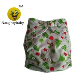 Wholesale Naughty Baby - For Merry Chrismas Naughty Baby One Size Washable Reusable Cloth Diaper Covers Baby Diaper Colorful Bags baby cloth Nappy diaper 60setslot