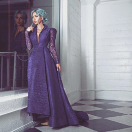 Wholesale Stands Evening - 2017 Vintage Prom Dresses Purple Stand Collar V Neck Lace over Satin Evening Gowns with Sheer Long Sleeves