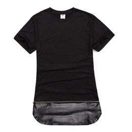 Wholesale T Shirt Chain - Kanye west short sleeve T-shirt spell leather zipper gold chain leather t-shirts long