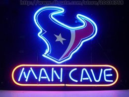 "Wholesale Bulls Signed - Man Cave Cow Bulls Neon Sign Light Custom Handmade Real Glass Tube Pub Beer Bar KTV Club Store Display Neon Signs 17""X14"""