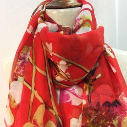 Wholesale Chiffon Scarf Fabric - 100% natural red Chiffon Shawl silk fabric scarves shawl embroidery beach towel dual-use sunscreen Scarf