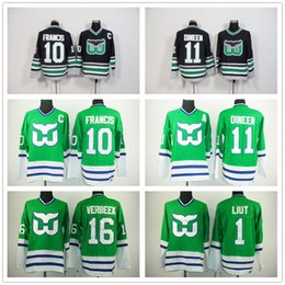 Wholesale Ron Mix - Wholesale Hartford Whalers Ice Hockey Jerseys #1 Mike Liut #10 Ron Francis Jersey #11 Kevin Dineen Black Green Accept Mix Orders