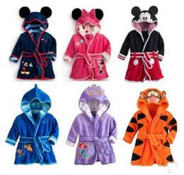 Wholesale Purple Robe Child - New Children Kids Mickey Robes Baby Girls Boys Cartoon Bath Clothes Robes With Hooded Pre School Coral Velvet Long Shower BathRobe For 1-5T