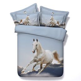 Wholesale California King Quilts - Wholesale- *S New Tencel 3D horse print bedding sets cal king size white horse bedspread twin quilt cover for single bed sheets