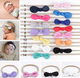 Wholesale Ear Bunny - INS Baby Nylon Headbands Bunny Ear Elastic Headband Children Kids Hair Accessories Fashion Hairbands Baby Girls Nylon Bow Headwear Headdress