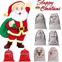 Wholesale Deer Ornament - 20style Drawstring Bag Christmas bags Halloween Canvas Santa Sack Bags Santa Claus Cute Deer Ornament Christmas Decorations Canvas gift bags