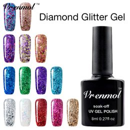 Wholesale Glitter Soak Off Gel Polish - Wholesale- Vrenmol Permanen Glitter Diamond Color Change Gel Varnishes Soak Off Starry Shimmer Sequins Led UV Gel Nail Polish