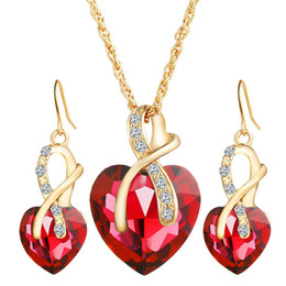 Wholesale Earrings Wholesale China - Red Blue Crystal Heart Pendant Necklace Earings Jewelry Sets Gold Chain Women Bridesmaid engagement Wedding Jewelry Gift 162191