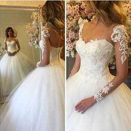 Wholesale Modest Luxury Wedding Dress - 2017 Modest Arabic Dubai Style Sheer Long Sleeves Lace Wedding Dresses Luxury Beaded Ball Gown Bridal Gowns with Lace Up Back
