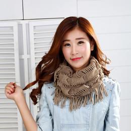 Wholesale Knit Fringe Snood Scarf - Wholesale Fashion Women Winter Warm Knit Loop Scarf Tassels Soft Shawl Fringe Neck Wrap Circle Snood Scarf Shawl lady girls fashion scarves