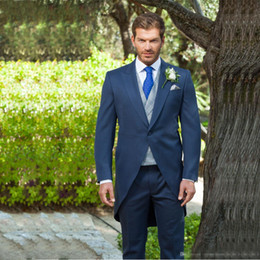 Wholesale western tuxedos - Hot Sale Navy Blue One Button Tailcoat for Groom Tuxedos Peaked Lapel Two Piece Groom Wear Custom Made Western Men Suits