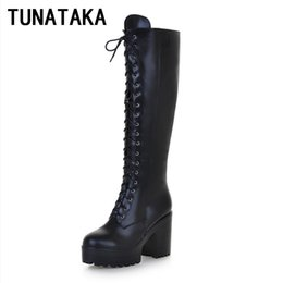 Wholesale High Heel Red Bottom Boots - Wholesale-Women's Lace Up Knee High Boots Thick Bottom High Heel Platform Combat Boots Black Brown Blue Plus Size