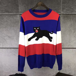 Wholesale cashmere brand clothing - 2017 Winter Cashmere Sweater Men Brand Clothing Mens Sweaters black Panther stripe Print Casual Shirt Wool Pullover Fashion Man' knitting