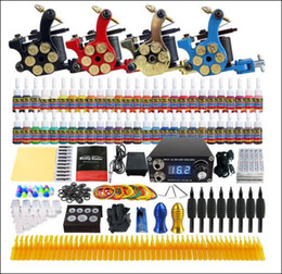 Wholesale Tattoo Grips Tips Kits - Solong Tattoo® Complete Tattoo Kit 4 Pro Machine Guns 54 Inks Power Supply Needle Grips Tips TK458