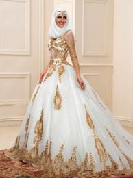 2019 weißgold indische kleider Neueste Weiß und Gold Muslim Brautkleider 3/4 Langarm Ballkleid Sheer Indian Styles Arabisch Brautkleider Robe De Mariage W1618 rabatt weißgold indische kleider