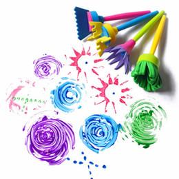 Wholesale Kids Stamp Sets - Wholesale- Kids DIY Painting Tools Drawing Toys Flower Stamp Sponge Brush Set Art Supplies 4 Pcs Set oyfy