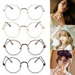 Wholesale Chic Frames - Wholesale- Chic Eyeglasses Retro Big Round Metal Frame Clear Lens Glasses Nerd Spectacles Black, Silver, Gold, Copper