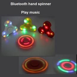 Wholesale Mini Fun Led - Newest Bluetooth Speaker mini Music Fidget Spinner EDC led Hand Spinner for fun