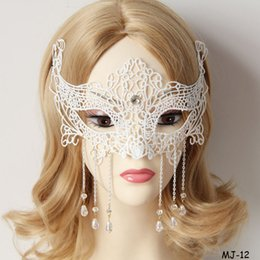 Wholesale Graduation Tassels Wholesale - Halloween Mask Masquerade Party Decoration Ladies Black Lace Beads Tassel Eyes Half Face Masks Women Night Club Veil Masks for Sale