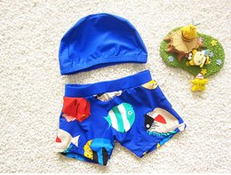Wholesale Fish Bathing Suits - 2017 Kids bathing suits Swim trunks Boy swimwear Beach shorts+cap Children Cartoon fish prints Soft fabric Quality