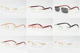 Wholesale Clear Lens Wood Glass - Wood Sunglasses for Womens Men 2017 Brand Designer Buffalo Horn Glasses Gold Silver Metal Frame Clear Lens with Wood Bamboo Sun Glasses