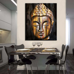 Wholesale Modern Buddha Oil Painting - Framed Pure Hand Painted Modern Buddhist Art Oil Painting Golden Buddha Face,Home Wall Decor On High Quality Canvas size can be customized
