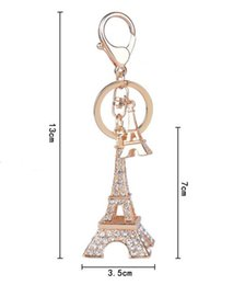 Wholesale Eiffel Tower Keyrings - Eiffel Tower shaped diamante key chain The girl bags decoration and car hanging accessories Delicate and beautiful keyring