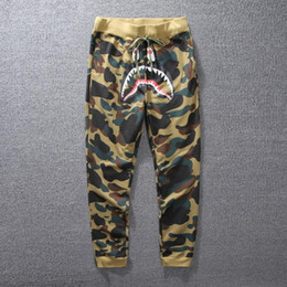 Wholesale Camouflage Sweatpants Women - Goods In Stock Wholesale Tide Brand Shark Camouflage Ankle Banded Jogging Thin Men And Women Pure Cotton Pants sweatpants joggers for