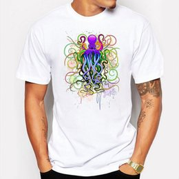 Wholesale Camp Tshirt - Camping & Hiking T-Shirts Summer Octopus Rainbow mens t shirts Printed t-shirt funny anime Short Sleeve White Cartoon hip pop tshirt homme