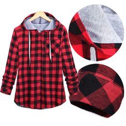Wholesale Hooded Plaid Shirt Men - Wholesale- Women Casual Red Plaid Shirt Hooded Long Sleeve England Shirt Tops Men Harajuku Black Checkered Blouse Couple Clothes Size S-2XL