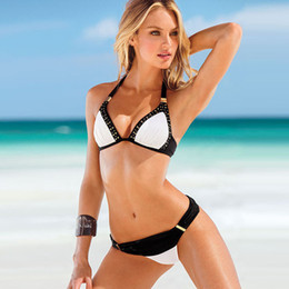 Wholesale Crystal Padded Bikinis - B011 Brand Designer Push Up Bikini Sexy Women Two Pieces Crystal Bing White Swimwear Bathing Suit Beach Padded Swimsuit
