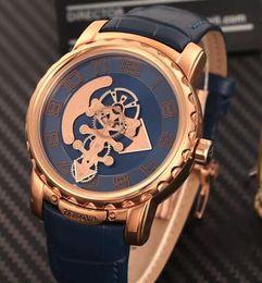 2019 montres bleues pour hommes Swiss Brand New Blue Face Bracelet En Cuir Or Rose Inoxydable Galss Retour Hommes Automatique Montres Mécaniques De Luxe Hommes Montres Bas Prix montres bleues pour hommes pas cher