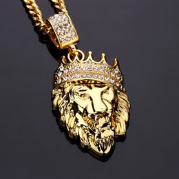 Wholesale Boutique Easter - 2017 fashion new 18K gold diamond crown lion head boutique pendant hip-hop necklace tide men must jewelry