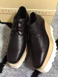 Wholesale Shoe Low Sole - Elyse Stella Mccartney Scarpe Shoes Black Genuine Leather with White Sole Low Top